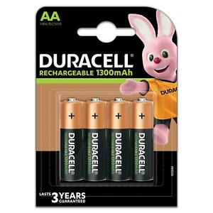 4 x Duracell Rechargeable Batteries AA 1300MaH NiMH HR6/DC1500