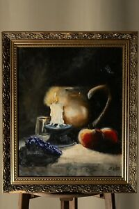 Fine Still Life Candle Oil on Wood Painting Signed Framed Art Realism Old 1900s