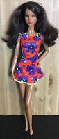 Barbie Doll Clothes Dress Red/Purple Floral Print Dress Fits Model Muse Mattel