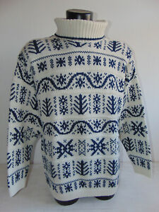 Vintage 90 NORWAY L XL Maglione Lana Sweater Bianco Maglia Fantasia Collo Alto