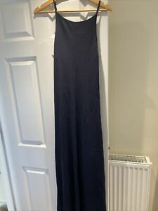 STUNNING Zara Limited Edition Maxi Long Navy Knit Dress Strappy Size S 8 10