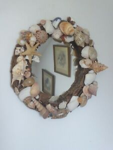Lovely Rustic Willow Weave Mirror Decorated With Sea Shells 35cm diameter