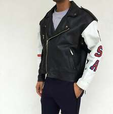 Vintage VTG 80s 1980s Black and White USA Leather Zip Up Motorcycle Jacket