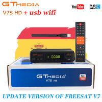 Receptor Satelital GTMedia V7S  FREESAT FULL HD 1080p dvb-s2 +RT5370 antena WIFI
