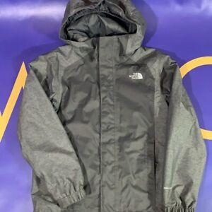 Kids Boys Small 7/8 North Face Full zip Rain Jacket Gray Dry vent