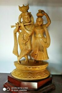 Krishna Radha Hand Carved Wooden Sculpture Hindu God Figurine Statue Home Decor