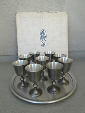 """VINTAGE 9 PC CONNECTICUT HOUSE PEWTER CORDIAL GOBLET SET & 14"""" KIRK STIEFF TRAY"""