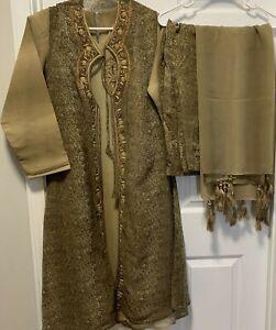Indian Salwar Kameez Suit Olive Stylish Party Wear Long Jacket