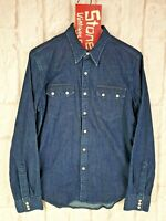 Levis Sawtooth Blue Stretch Denim Cowboy Long Sleeve Pearl Snap Shirt £100 M New