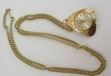 Ladies Vintage Tenor Gold Tone  Pendant Watch Necklace - Fully Working