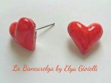 Orecchini artigianali cuori rossi in resina. Regalo perfetto per san Valentino