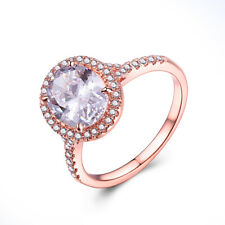 Oval 9x7mm Cubic Zirconia Ring Solid 10K Rose Gold Engagement & Wedding Jewelry