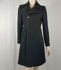 Zara Women Black Wool Smart Long Coat Size M UK 12