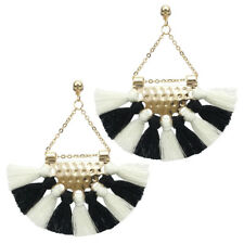 ZARA  BLACK & WHITE  FRINGE STUD  EARRINGS