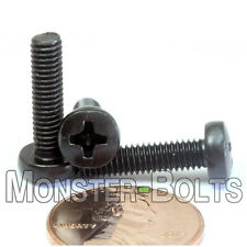 M4 x 16mm - Qty 10 - Phillips Pan Head Machine Screws - DIN 7985 A - Black Steel