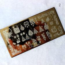 Arte en uñas placa de imagen Planchas para Estampar Navidad Candy Canes Baubles Santa (SPH02)