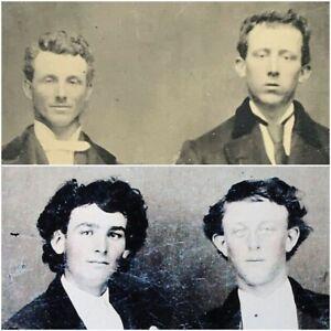BILLY THE KID & DAN DEDRICK? - RARE Tintype Photo Same Two Men