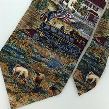 TANGO CROSS CIRCA 1883 Locomotive Diesel Engine USA FLAG Silk Necktie Tie N1-67