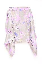 Vintage pink flower bloom & grey round stitched chic ladies neck scarf(S-25)