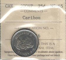 2004P CARIBOU Twenty-Five Cents ICCS MS-65 GEM BU * STUNNING QEII Canada Quarter