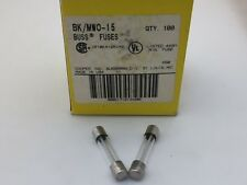 (10 PCS) MWO-15  Bussmann, 15A  125vac, Slow Blow, Glass Fuse