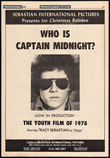 ON THE AIR LIVE WITH CAPTAIN MIDNIGHT__Orig 1977 Trade AD_poster_TRACY SEBASTIAN