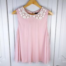 Topshop Nude / Pink Crochet Lace Collar Swing Layer Top Size 14 BNWOT