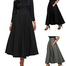 Fashion Women High Waist Maxi Dress Skater Flared Pleated Long Skirt BOHO