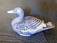 Ancien grand canard bleu vide-poche en porcelaine de Chine