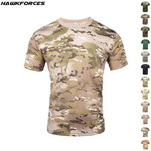 Mens Casual Short Sleeve T-Shirt Army Tactical Military Summer Shirt Camouflage
