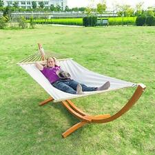 New listing Outdoor Patio 10.5 ft Hammock Durable Pine Wood Arc Stand with Double Hammock