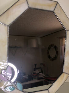 Stained Glass Framed Mirror 15 X 12 Raised Flower Mirror Has A Am Scratch B106