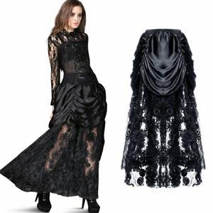 Langer viktorianischer Lagenrock mit gerafftem Satin Gothic Steampunk Long Skirt