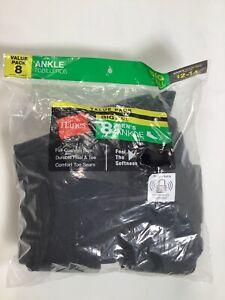 Mens Hanes Black Ankle Socks Sz 12-14 8 pack NEW!