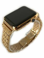 24K Gold Plated 42MM Apple Watch SERIES 3 Gold Links Band Diamond Rhinestone