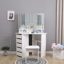 White Corner Dressing Table Makeup Desk Make Up Mirrors Bedroom Furniture Vanity