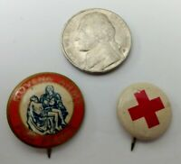 Vintage Pinback Button Novena Army For Peace and Red Cross Button