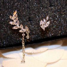 Fashion Charm Asymmetric Silver & Gold Leaf Crystal Ear Cuff Stud Clip Earrings