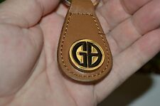 Nice MINTY Geoffrey Beene GB Initials Leather Brown & Silver Key Chain