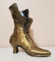 Vintage Brass/Cast Metal Victorian Ladies Boot Vase Doorstop Decorative