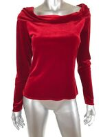 Kay Celine Womens Velour Knit Top Sz Medium Red Off Shoulder Long Sleeve NEW