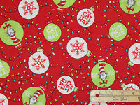Cat in the Hat Dr. Seuss Christmas Kaufman Fabric by the 1/2 Yard  #16675-3