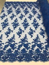Royal Blue Floral Pattern Beaded Fabric Lace Wedding Bridal Fabric Sold By Yard