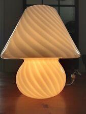 """VINTAGE MURANO MUSHROOM LAMP WHITE SWIRL 14"""" NO RESERVE"""