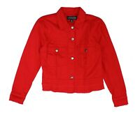 Live a Little Womens Jacket Red Size Small S Denim Button Down Frayed $62 066