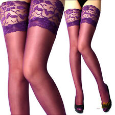 Fashion Lady's Lace Silicone Top Stay Up Thigh-High Stockings Woman Pantyhose