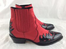 Topshop Ladies OI ARSON RED SATIN BLACK PATENT LEATHER COWBOY ANKLE BOOTS SIZE 6