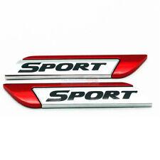 2x Red Sport Metal Chrome Emblem Badge Side Trunk Rear Sticker For Audi Porsche