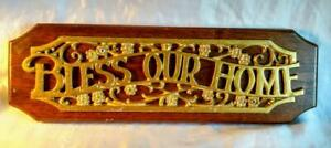 HAUNTED Bless Our Home Metal & Wood Plaque Wall Hanging Sign HOMCO