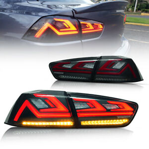 LED Tail Lights For Mitsubishi Lancer EX 2008-2017 EVO X Smoked 4Pcs Rear Lamps